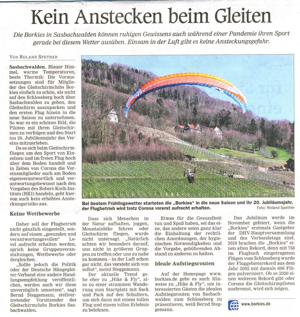 Artikel in Acher Rench Zeitung vom Do. 19.3.2020