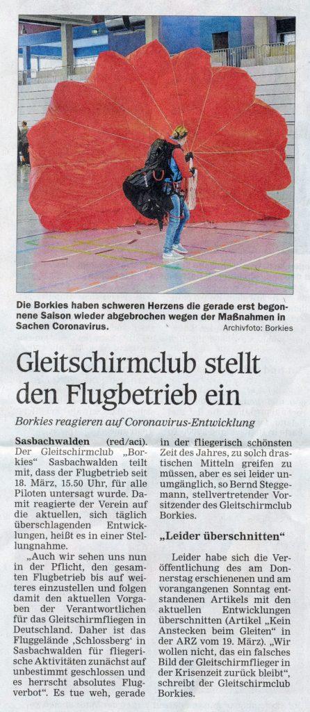 Gleitschirmclub stellt den Flugbetrieb ein ARZ