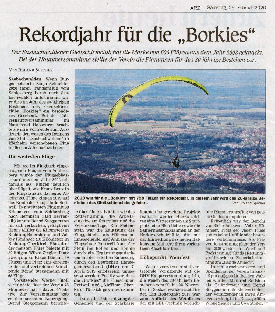 Artikel in Acher Rench Zeitung vom Sa. 29.2.2020