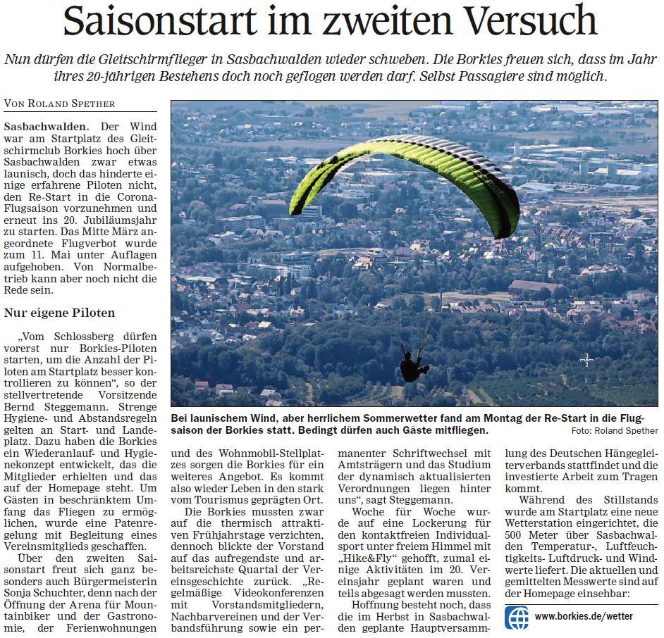 Artikel in der Acher Rench Zeitung vom Mi. 20.5.2020